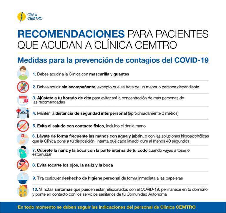 Recomendaciones paciente clinica cemtro